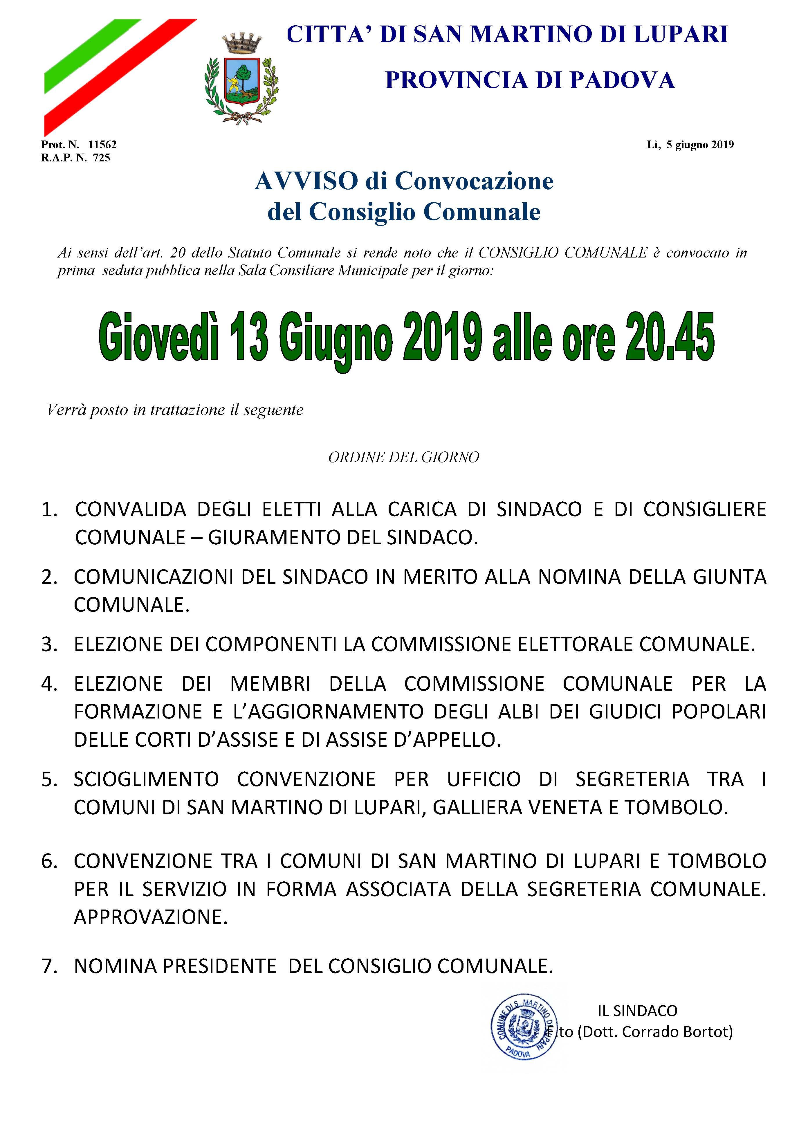 AVVISO DI CONVOCAZIONE CONSIGLIO COMUNALE: Giovedì 13 giugno 2019