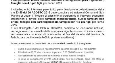 BANDO REGIONALE FAMIGLIE IN DIFFICOLTA' ANNO 2019