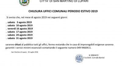 AVVISO CHIUSURA UFFICI COMUNALI – PERIODO ESTIVO 2019