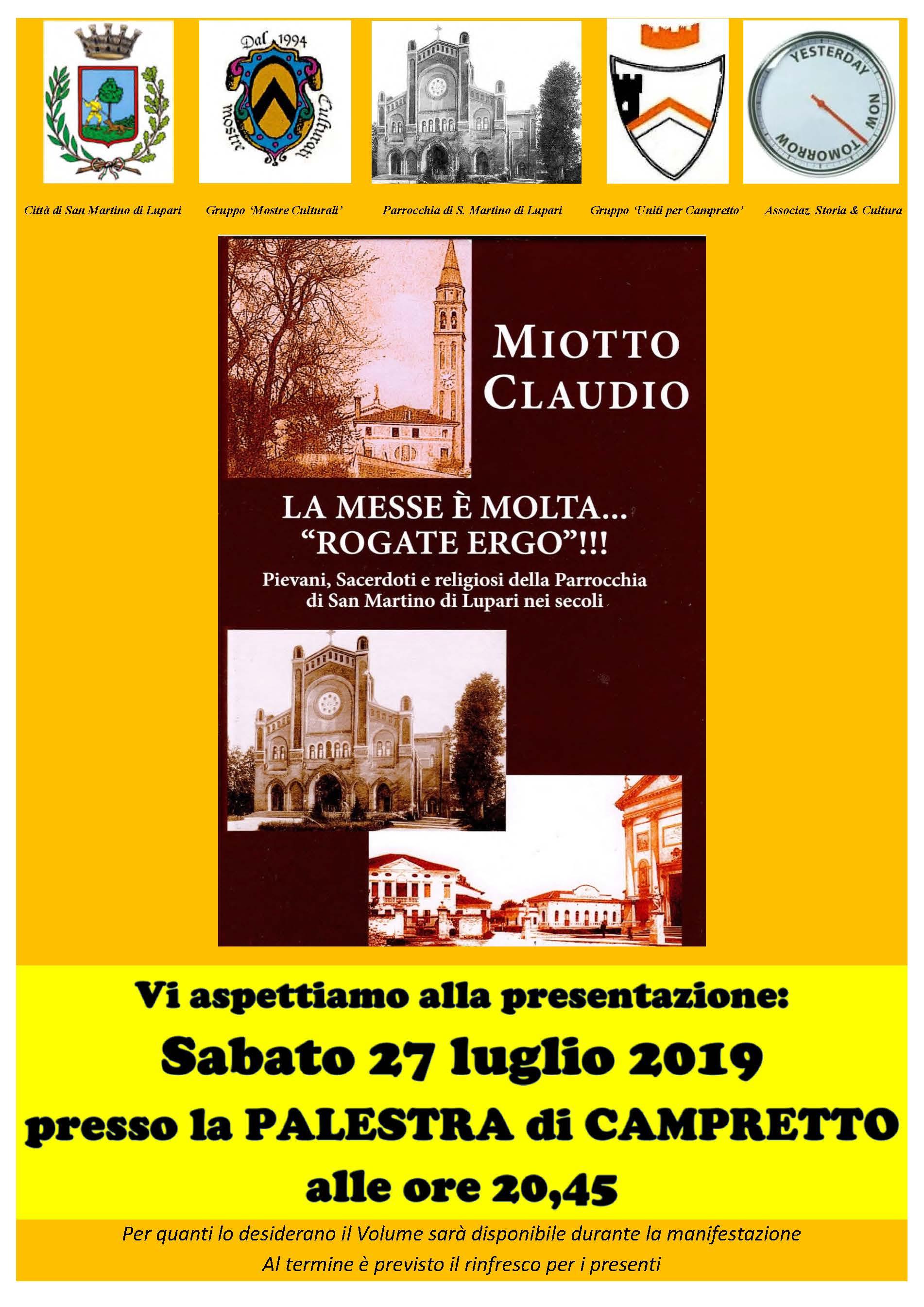 Presentazione volume di Miotto Claudio: Sabato 27 luglio ore 20.45