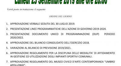 AVVISO DI CONVOCAZIONE CONSIGLIO COMUNALE: Lunedì 23 Settembre 2019 alle ore 20.00