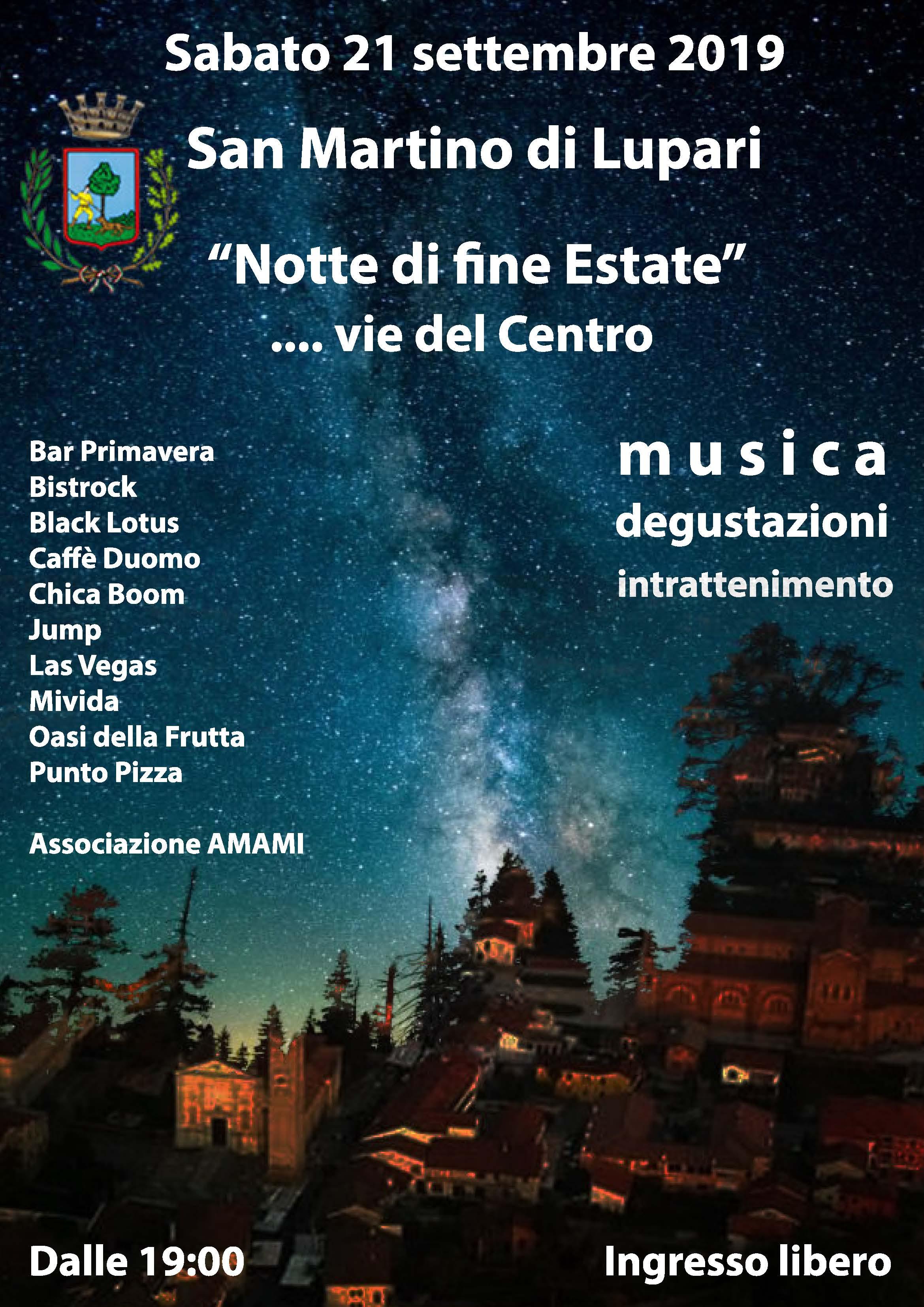 """SABATO 21 SETTEMBRE 2019: """"Notte di fine Estate"""""""