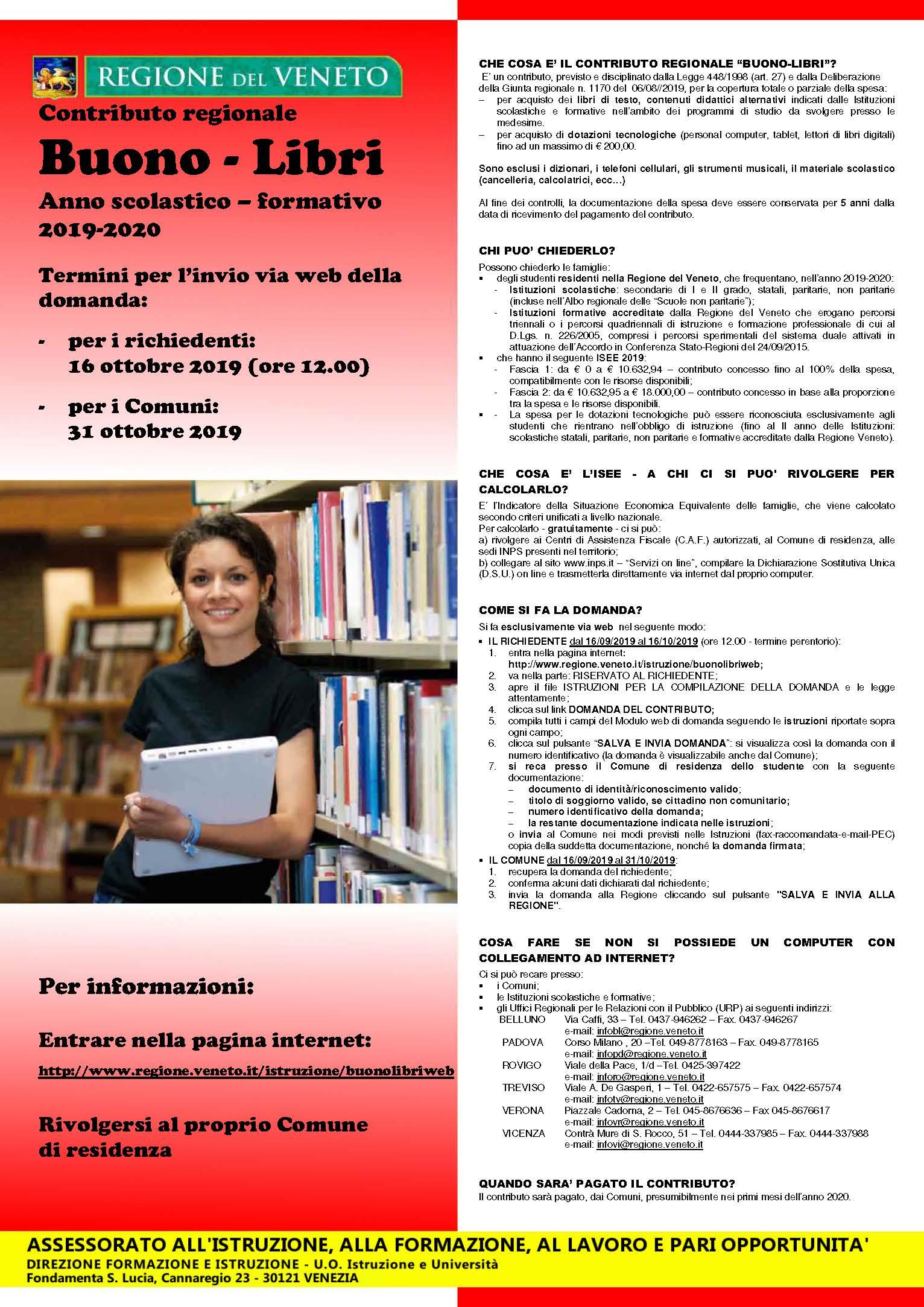 CONTRIBUTO REGIONALE BUONO LIBRI A.S. 2019/2020
