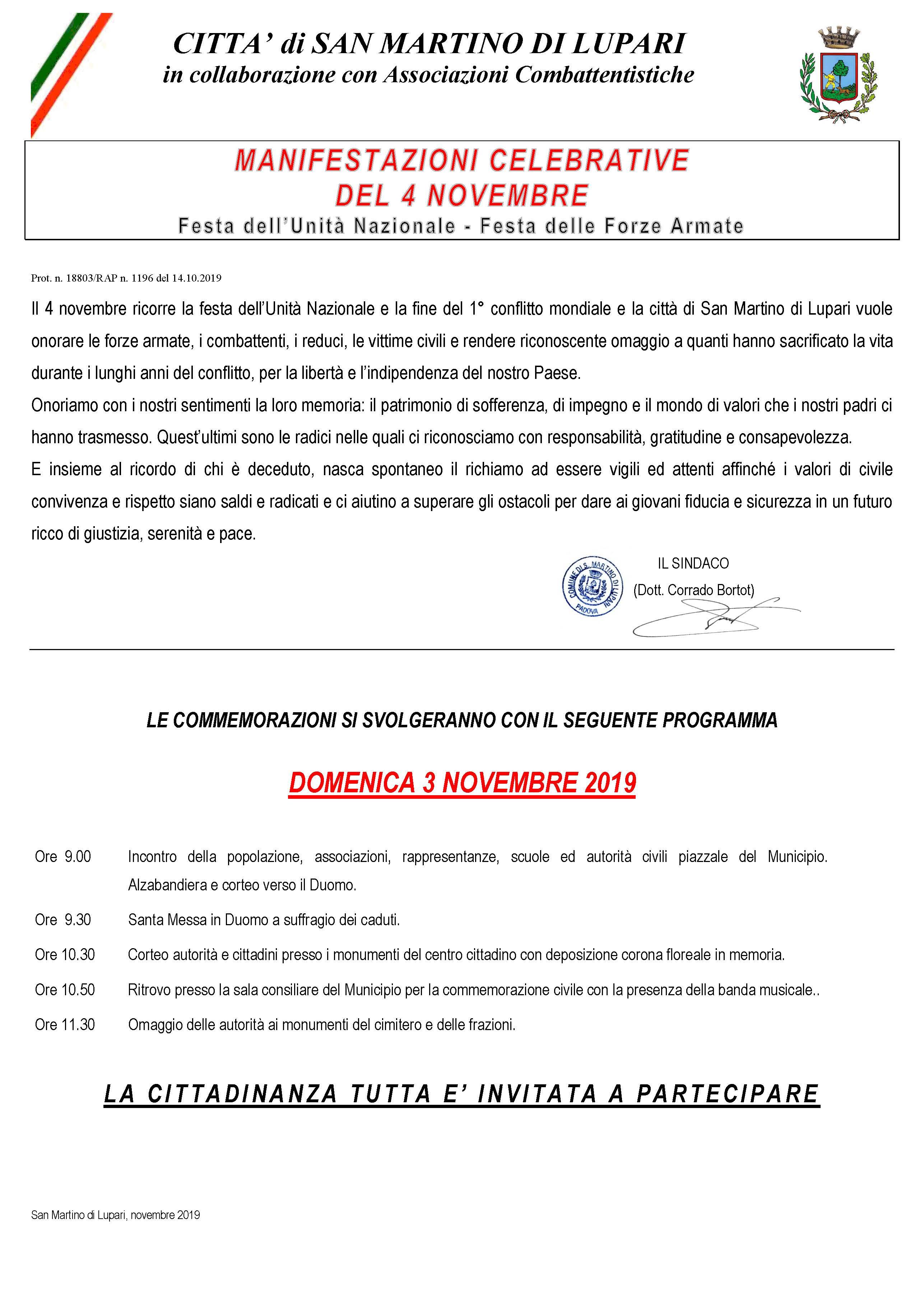 MANIFESTAZIONI CELEBRATIVE  DEL 4 NOVEMBRE  Festa dell'Unità Nazionale – Festa delle Forze Armate
