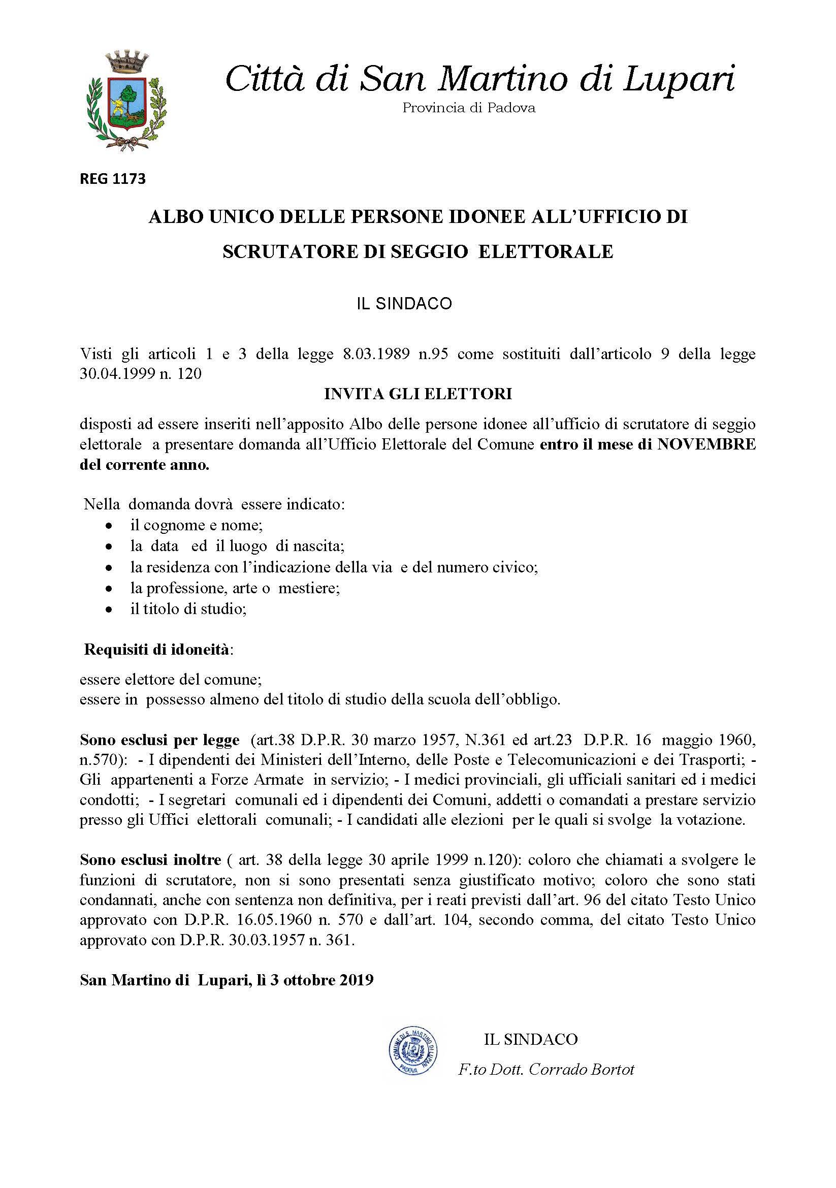 ALBO UNICO DELLE PERSONE IDONEE ALL'UFFICIO DI SCRUTATORE DI SEGGIO ELETTORALE
