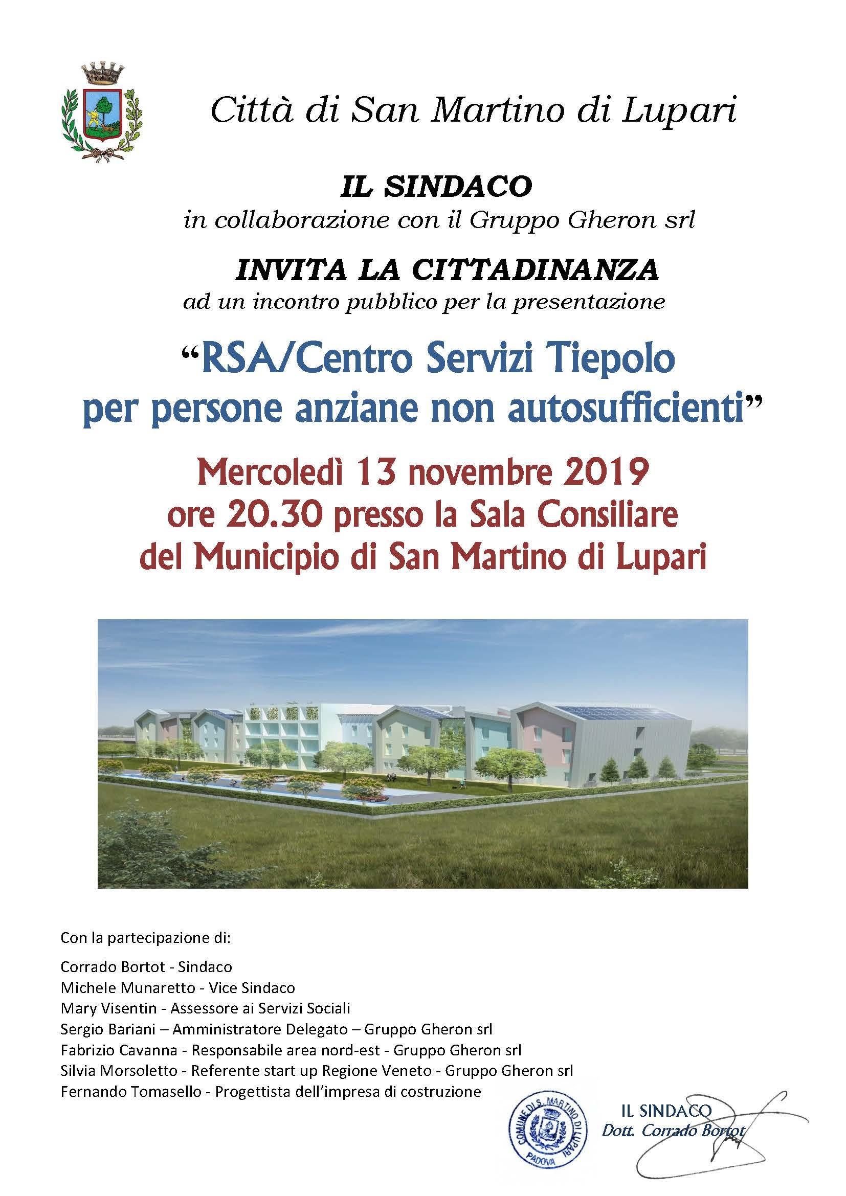 """Mercoledì 13 novembre 2019 ore 20.30 presso la Sala Consiliare: """"RSA/Centro Servizi Tiepolo per persone anziane non autosufficienti"""""""
