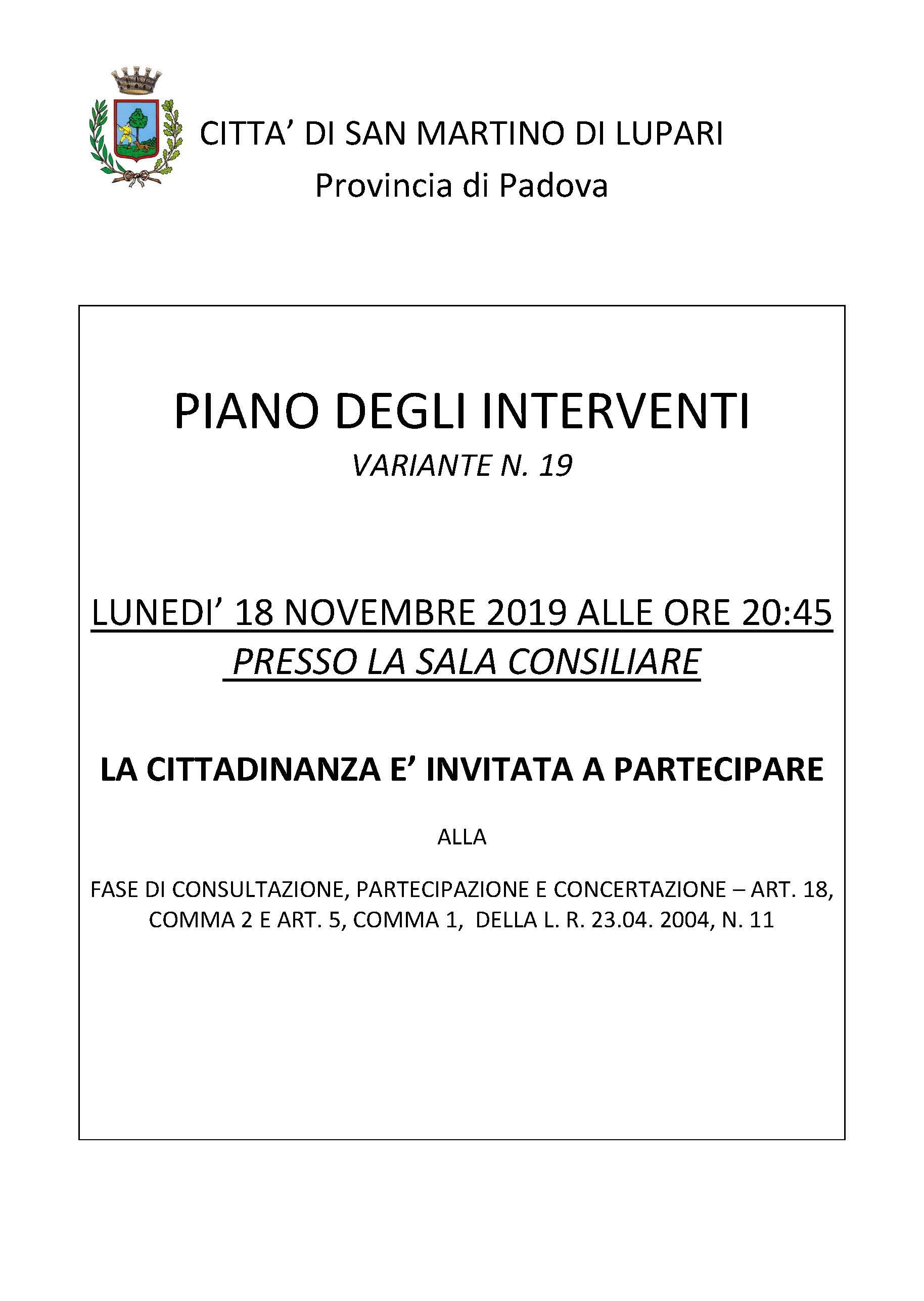 PIANO DEGLI INTERVENTI VARIANTE N. 19