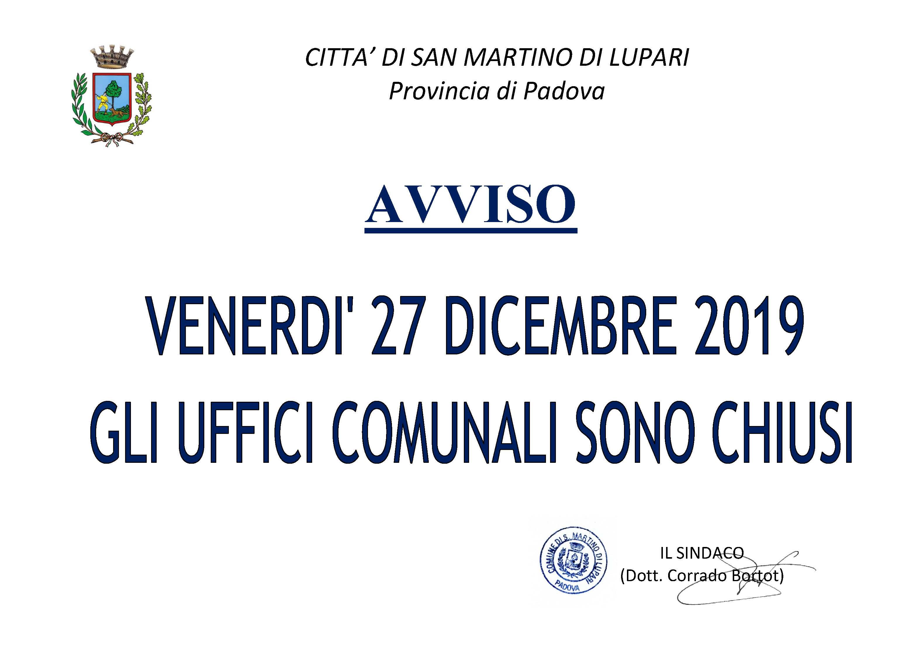 AVVISO CHIUSURA UFFICI COMUNALI – 27 dicembre 2019