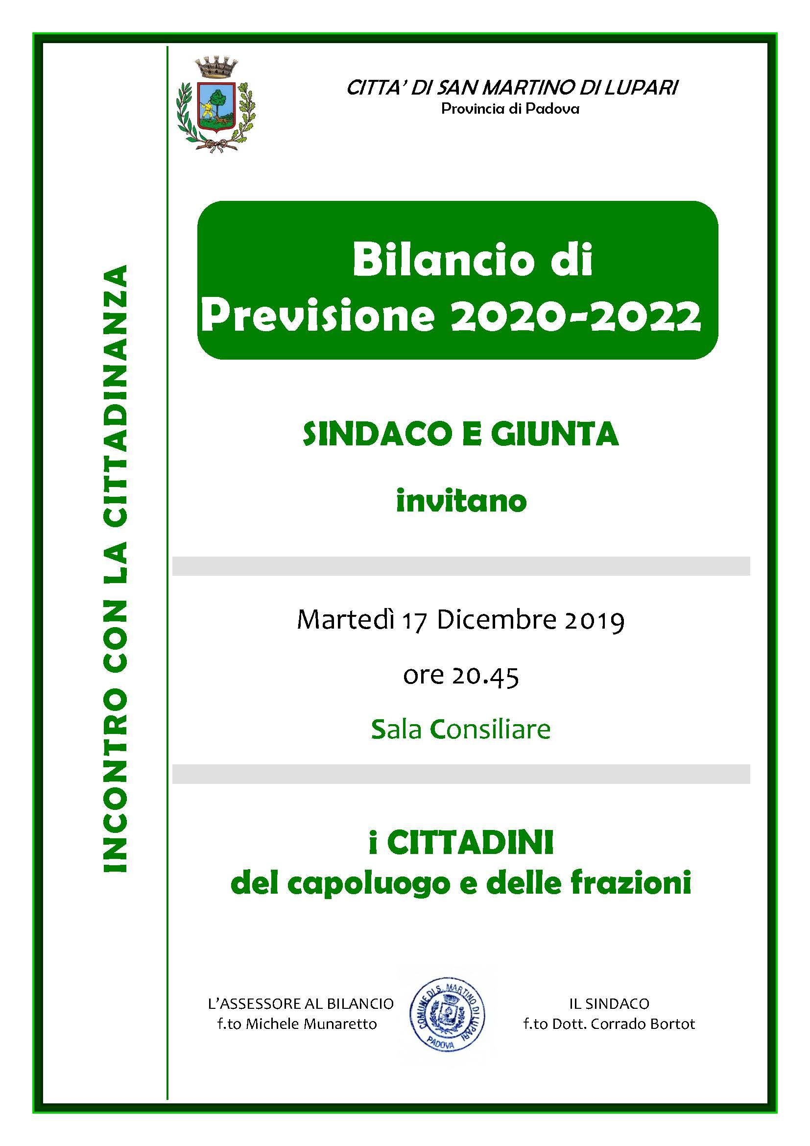 PRESENTAZIONE BILANCIO DI PREVISIONE 2020-2022