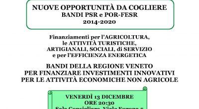 NUOVE OPPORTUNITA' DA COGLIERE BANDI PSR e POR-FESR 2014-2020