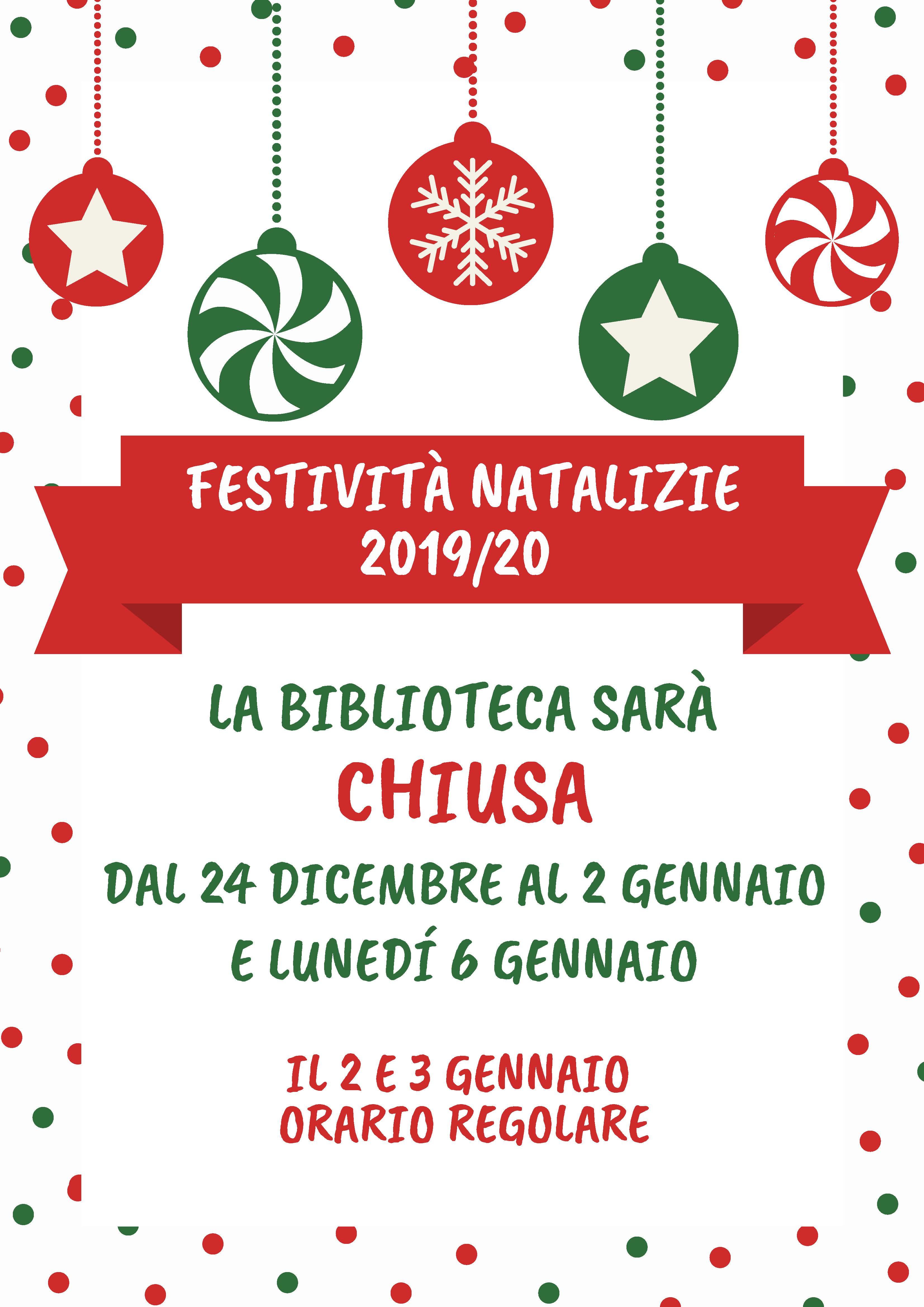 AVVISO CHIUSURA BIBLIOTECA COMUNALE  – festività natalizie