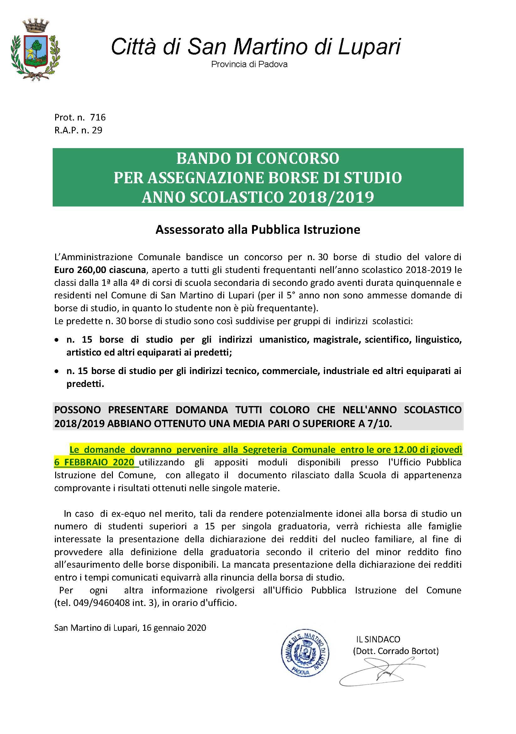BANDO DI CONCORSO PER ASSEGNAZIONE BORSE DI STUDIO ANNO SCOLASTICO 2018/2019 – Assessorato alla Pubblica Istruzione
