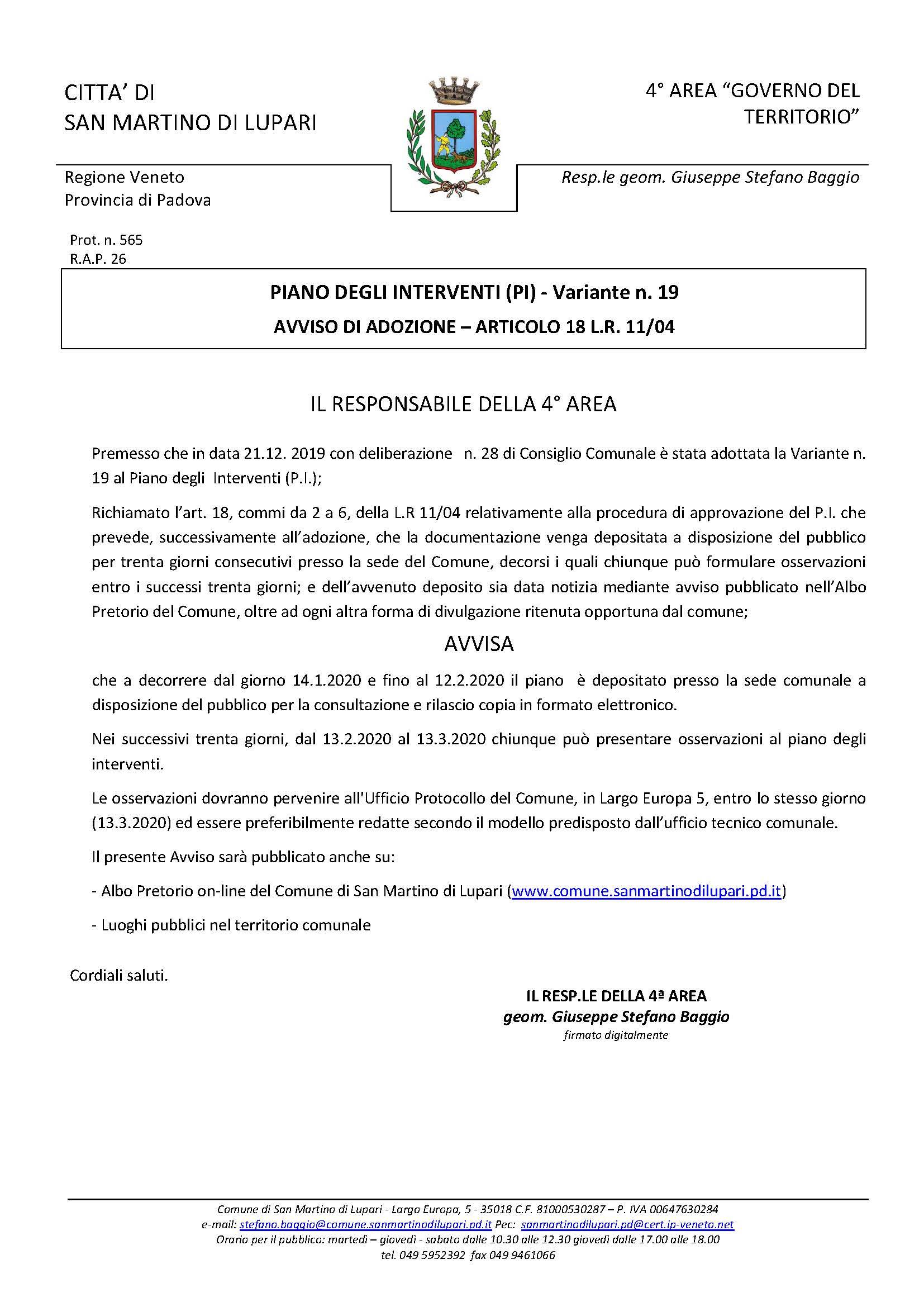 PIANO DEGLI INTERVENTI VARIANTE N. 19 – AVVISO DI ADOZIONE – ARTICOLO 18 L.R. 11/04