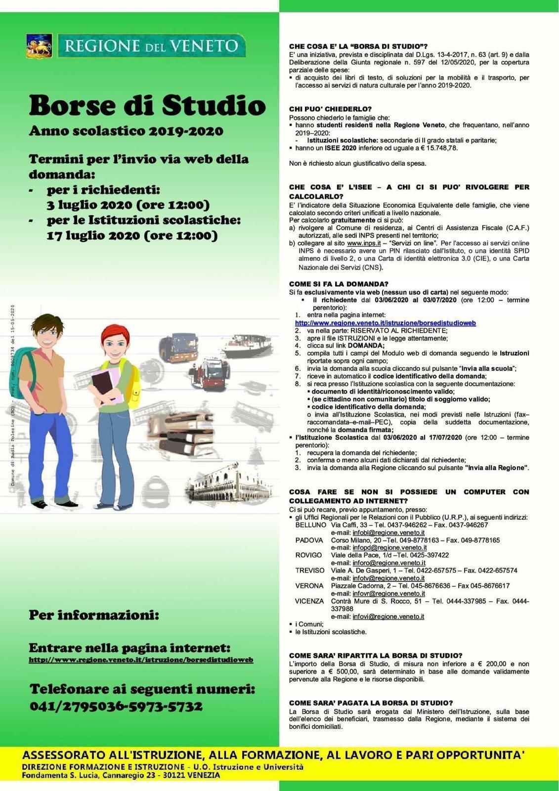 Borse di Studio Regione Veneto – Anno Scolastico 2019-2020