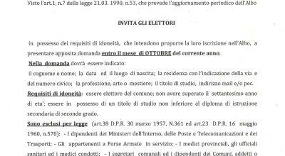 AVVISO ISCRIZIONE ALBO PRESIDENTE DI SEGGIO ELETTORALE