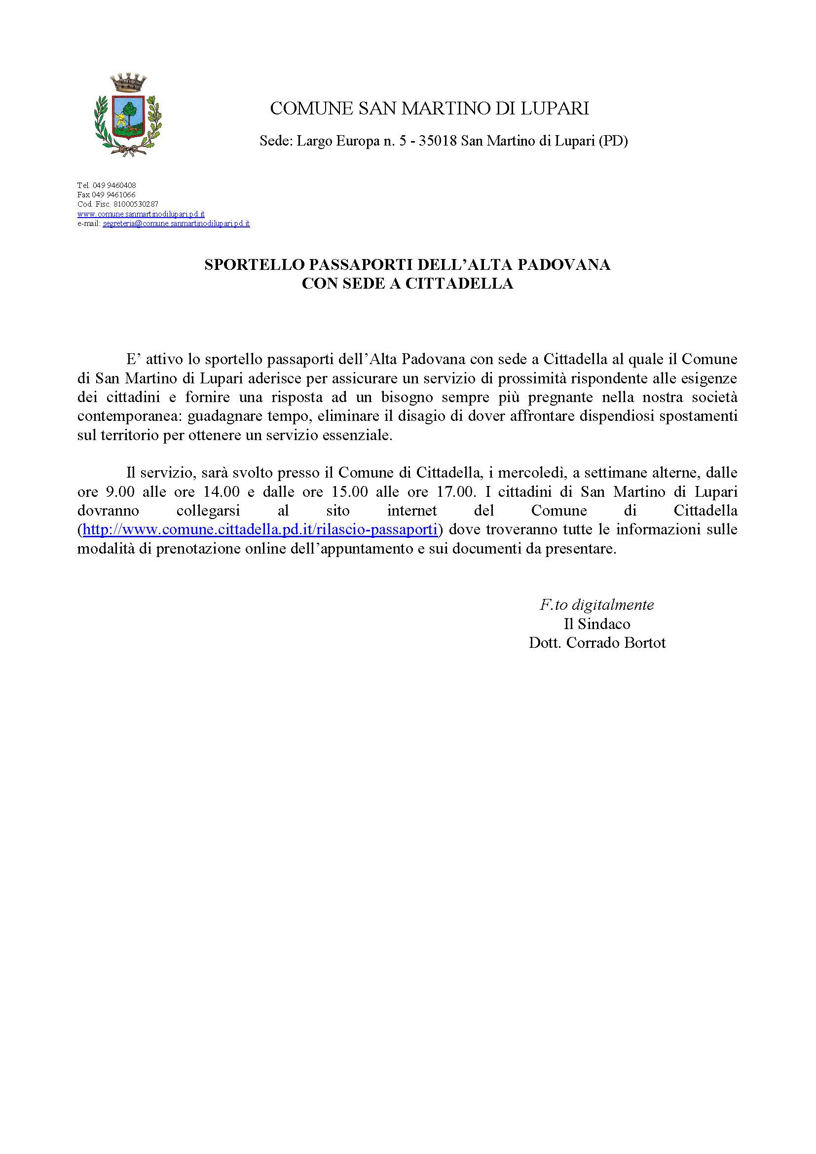SPORTELLO PASSAPORTI DELL'ALTA PADOVANA CON SEDE A CITTADELLA