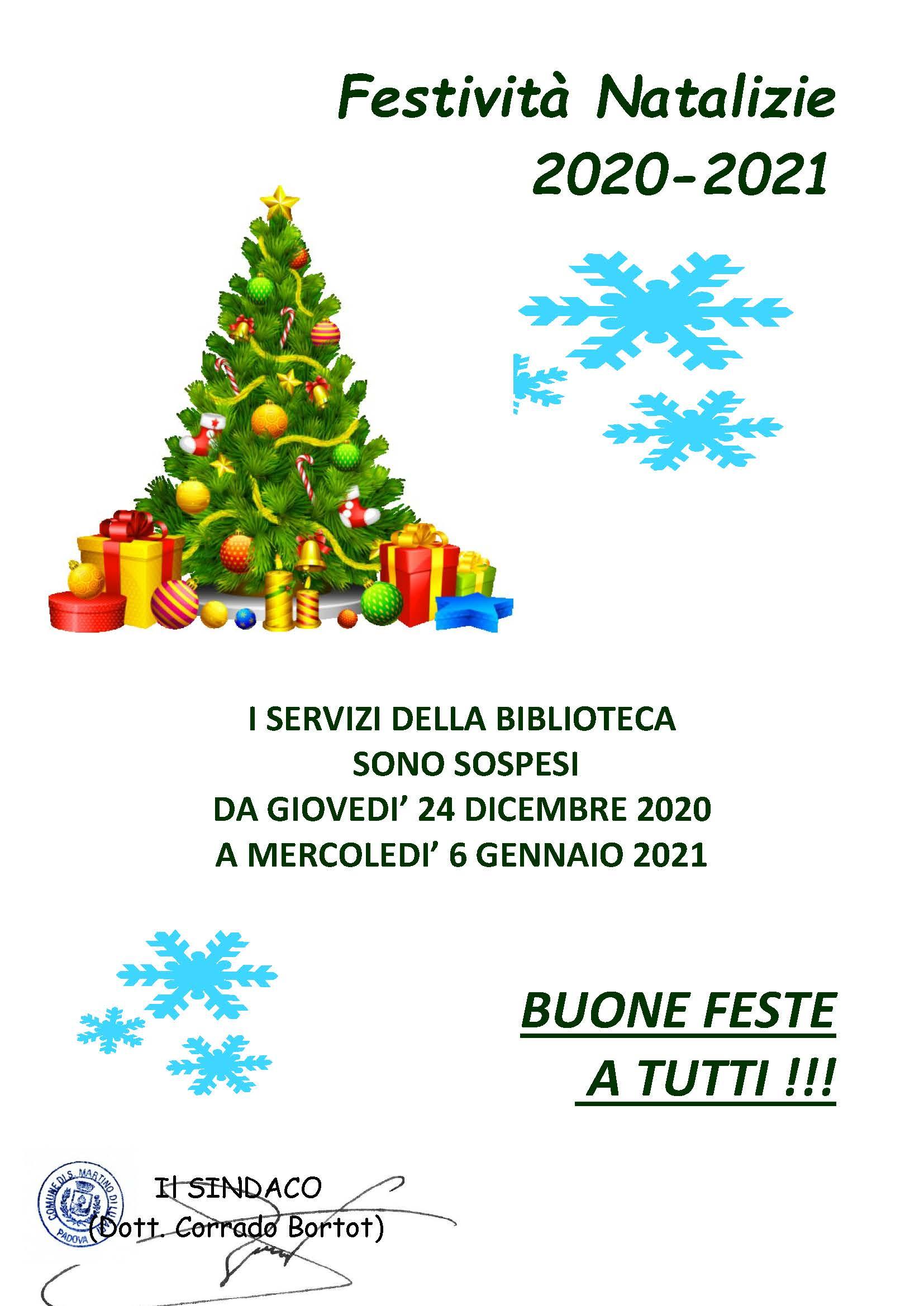 Avviso chiusura Biblioteca Comunale per festività natalizie 2020-2021