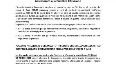 BANDO DI CONCORSO PER ASSEGNAZIONE BORSE DI STUDIO ANNO SCOLASTICO 2019/2020 – Assessorato alla Pubblica Istruzione