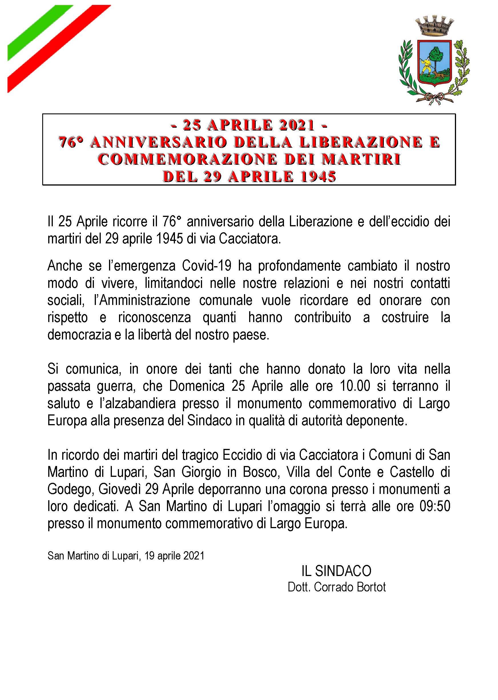 – 25 APRILE 2021 – 76° ANNIVERSARIO DELLA LIBERAZIONE E COMMEMORAZIONE DEI MARTIRI DEL 29 APRILE 1945
