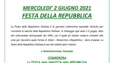 DOMENICA 2 GIUGNO 2019 FESTA DELLA REPUBBLICA