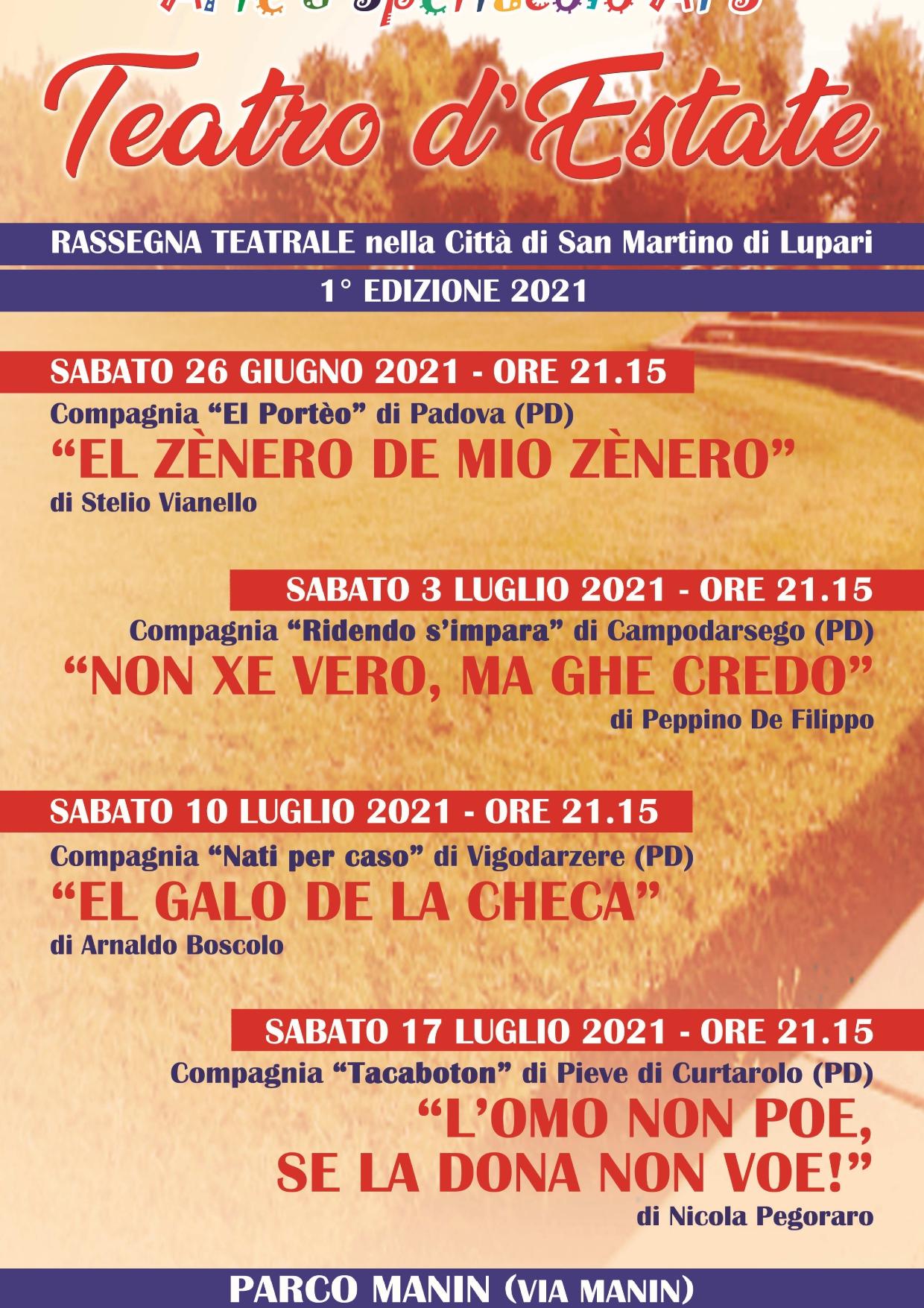 """1^ EDIZIONE 2021 DELLA RASSEGNA """"TEATRO D'ESTATE"""""""