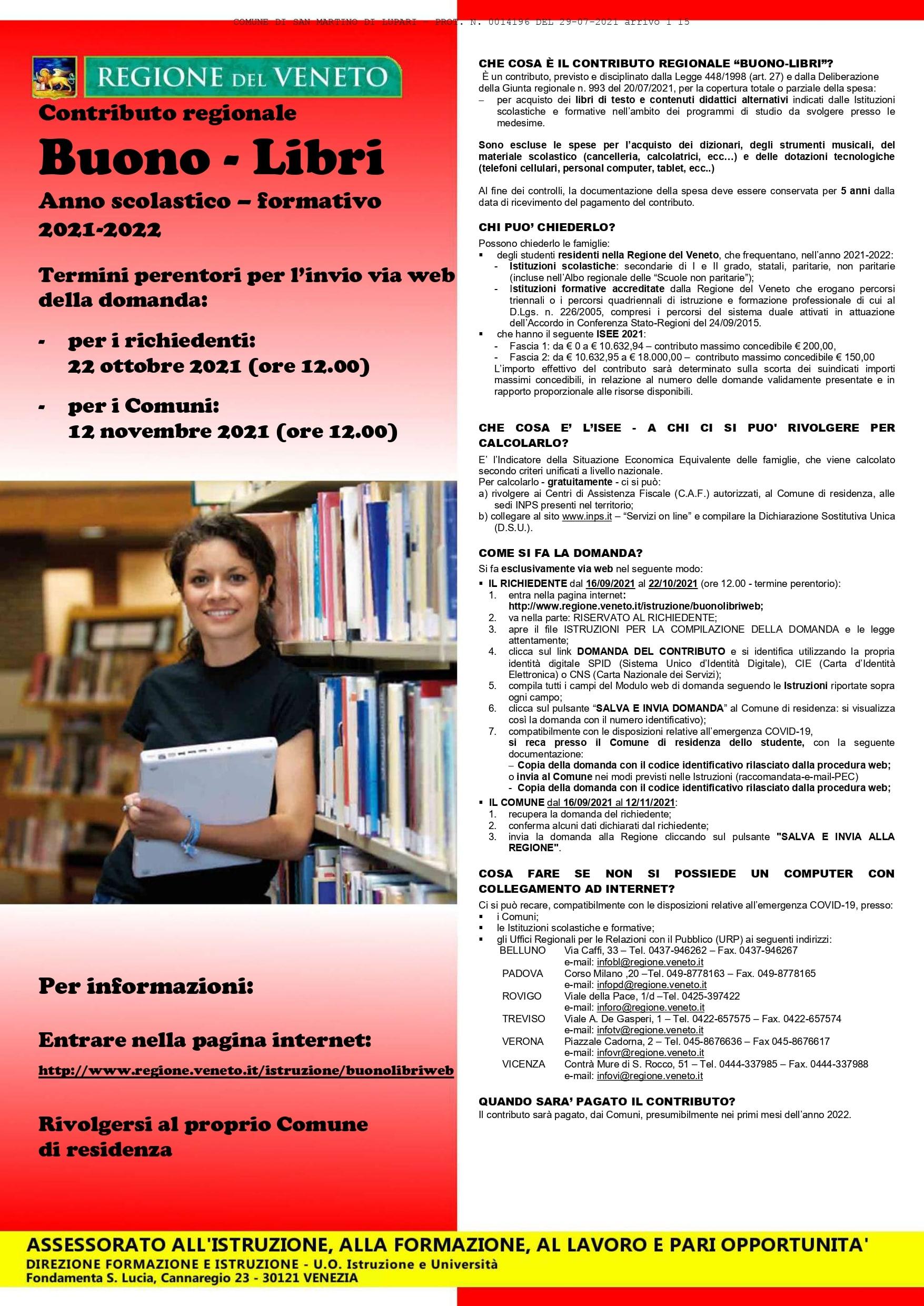 CONTRIBUTO REGIONALE BUONO LIBRI A.S. 2021-2022